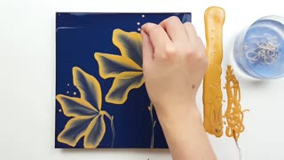 """Simple flower drawing technique painting """"Golden Lotus"""""""