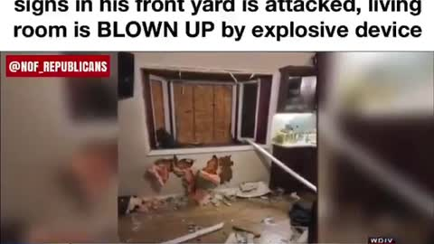 Man with TRUMP sign in yard was attacked with explosive