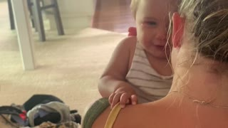 Baby Doesn't Like Dad's Weird Noise