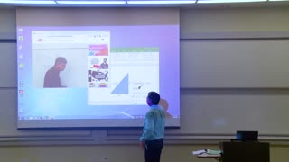 Funny Math Professor fixes his projector screen