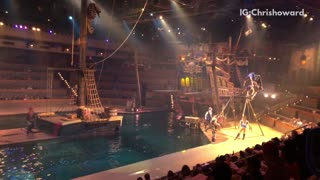 Pirate show man launches into air