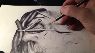 Time lapse skull drawing