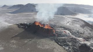 Newest Fissure of Fagradalsfjall Eruption in Iceland