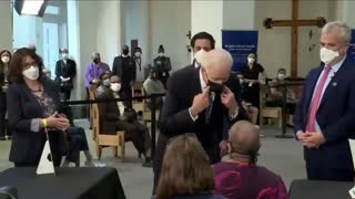 Biden Gets Within Inches of Woman's Face to Tell Her to Socially Distance