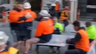Australian Workers Eat Lunch in the Middle of Street After They Are Denied Service