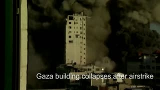 Gaza building collapses after airstrike