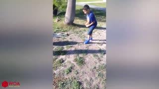 Funnyy goose chasing kids