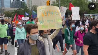 Climate Strike protestors in Toronto call on Justin Trudeau to ditch fossil fuels.