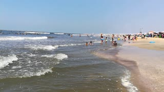 Little girls Enjoys Playing On Ras El Bar Beach
