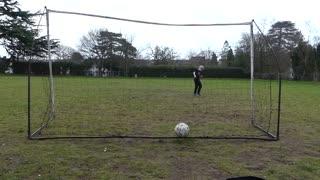 A little kid scores an amazing goal