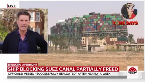 Tore Says Show on the Evergreen ship in the Suez Canal.