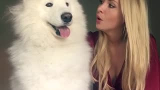 Woman howls with white husky