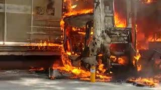 Reportan fuerte incendio en bus de Metrolínea que cubría ruta Bucaramanga - Piedecuesta