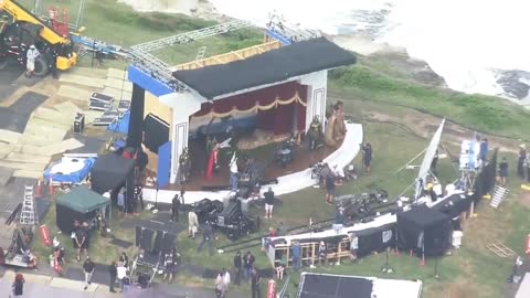 """filming set for the marvel movie """"Thor love and Thunder"""""""