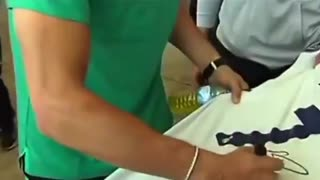 A fan asked Cristiano Ronaldo to sign his Real Madrid shirt yesterday. - He joked back Don
