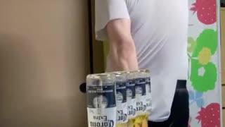 Beer challenge with my sword opening 5 bottle