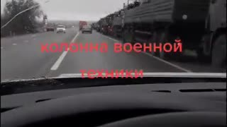 Russian military convoy at Morozovsk, Rostov advances towards the border with Ukraine.