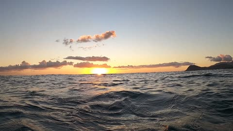 Oahu, Hawaii Sunset from the ocean surface