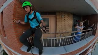 Basejump from a Residential Building while Eating