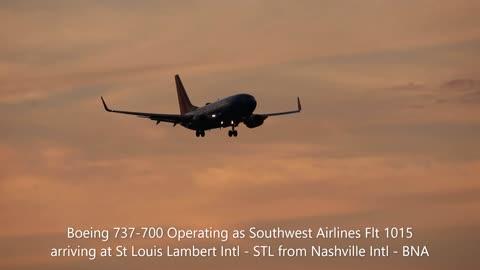 Southwest Airlines Flt 1015 arriving at St. Louis Lambert Intl
