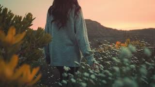 walking through flowery wood