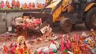 destroying statue