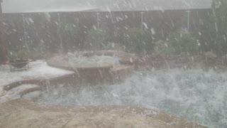 Hail Storm Batters Backyard Pool