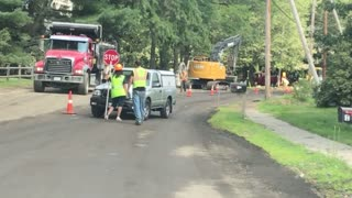 Driver Rams into Road Crew