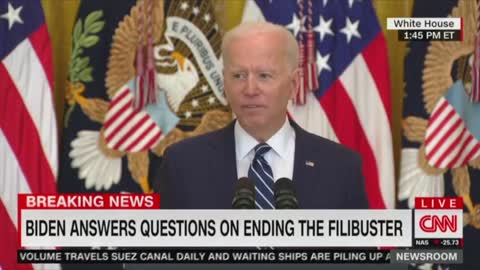 Biden's Brain Sputters out at the End of a Question About the Filibusters