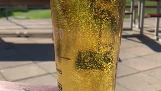 Slow motion summer cider bubbles