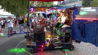 One man band's performance of materials made from scrap metal