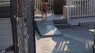 Little kid jumps doesnt make it to pool