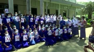 Myanmar teachers strike against military coup