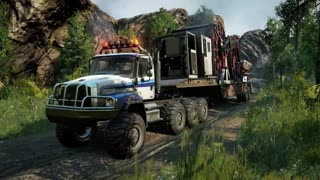 Freightliner 114SD 8x8 Driving Offroad SnowRunner