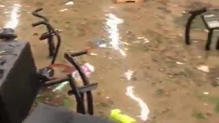 Gym suffers extreme flooding in Rio de Janeiro