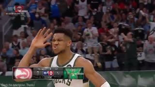 Giannis with a little mid-air switch 👀 Bucks vs Hawks Game 2