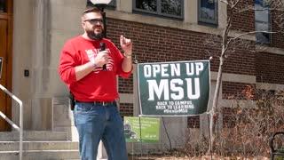 Adam Heikkila speaks at Michigan State University Back To Campus Rally