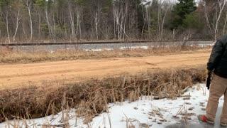Saving a Stranded Deer by Sliding It Across a Frozen Pond
