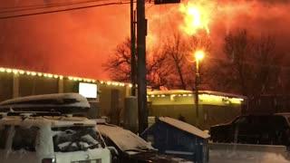 Huge Construction Site Fire Draws a Crowd