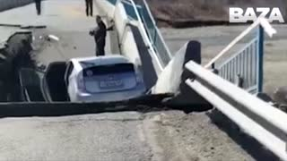 Moment Bridge Partially Collapses Right In Front Of Car