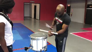 Snare drum battle between a teacher and his student