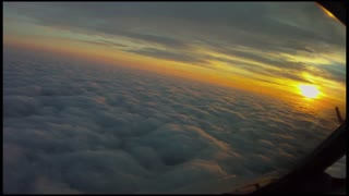 Amazing Burning sky from plane view
