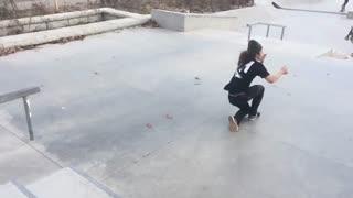 Green beanie skateboard hit face