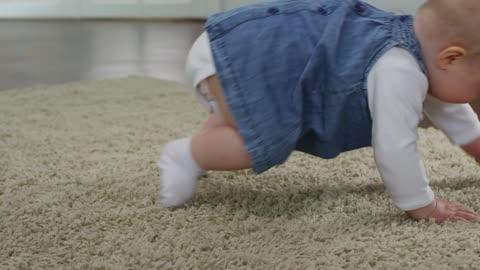 Cute crawling little baby