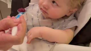 Baby Gives INDIFFERENT LOOK While Grandma Tries to Feed Him Playfully 🍼