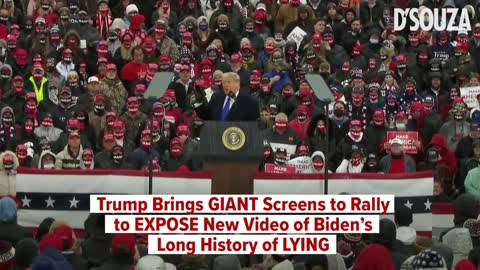 Trump Brings GIANT Screens to Rally to EXPOSE New Video of Biden's Long History of LYING