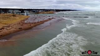 Gale Force Winds Hitting New Buffalo, Michigan Drone Footage No beach left & flooding Marina