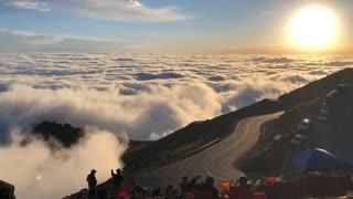 Beautiful Cloud Waves Plume Over Mountain