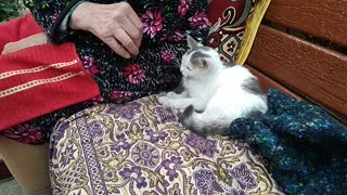 Grandma with her little friend