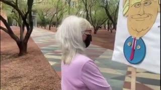 Antifa Karen Awkwardly Heckles Trump Supporters At Phoenix Trump Rally